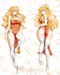 1girl ahoge alfred_cullado artist_name ass bangs bare_arms bare_shoulders bed_sheet black_panties blonde_hair blush breasts china_dress chinese_clothes cleavage cleavage_cutout closed_mouth covered_navel dakimakura double_bun dress eyebrows_visible_through_hair full_body highres knee_up large_breasts long_hair looking_at_viewer lying no_shoes on_back on_stomach panties patreon_username pelvic_curtain red_dress red_eyes rwby side-tie_panties sleeveless sleeveless_dress smile solo thigh-highs underwear v-shaped_eyebrows very_long_hair violet_eyes watermark wavy_hair web_address white_legwear yang_xiao_long