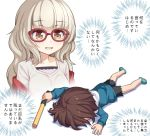2girls athrun1120 bangs black_shorts blue_footwear brown_eyes brown_hair chibi commentary_request eyebrows_visible_through_hair full_body glasses grey_hair hazuki_shizuku hood hoodie light_stick lying multiple_girls new_game! on_stomach open_mouth red-framed_eyewear shinoda_hajime short_hair shorts simple_background slippers translation_request white white_background