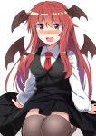 1girl :d arm_support bangs black_skirt black_vest blush breasts commentary_request demon_wings e.o. eyebrows_visible_through_hair hair_between_eyes head_wings highres koakuma long_hair long_sleeves looking_at_viewer medium_breasts necktie nose_blush open_mouth red_eyes red_neckwear redhead seiza sheer_legwear shirt sidelocks simple_background sitting skirt skirt_set smile solo thigh-highs thighs touhou very_long_hair vest white_background white_shirt wings