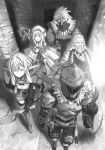 2girls 3boys asymmetrical_sleeves beard boots bow bow_(weapon) dwarf_(goblin_slayer) earrings facial_hair gloves goblin_slayer goblin_slayer! greyscale hair_bow hair_ornament helmet high_elf_archer_(goblin_slayer!) high_ponytail highres holding holding_bow_(weapon) holding_staff holding_weapon indoors jewelry kannatsuki_noboru lizard_priest_(goblin_slayer) long_hair monochrome multiple_boys multiple_girls mustache novel_illustration official_art pointy_ears priestess_(goblin_slayer!) sheath sheathed shield short_shorts shorts shoulder_armor sidelocks spaulders staff sword thigh-highs thigh_boots walking weapon zettai_ryouiki