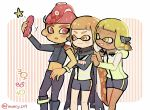 1boy 2girls bike_shorts black_cape black_footwear black_pants blonde_hair blush boots cape cellphone closed_mouth dark_skin domino_mask grin headgear holding holding_phone inkling kirikuchi_riku long_hair long_sleeves mars_symbol mask mohawk motion_lines multiple_girls navel octarian octoling open_mouth orange_eyes orange_hair pants phone pointy_ears red_eyes redhead self_shot short_hair single_sleeve single_vertical_stripe smartphone smartphone_case smile splatoon splatoon_(series) splatoon_2 splatoon_2:_octo_expansion squidbeak_splatoon star suction_cups teeth tentacle_hair torn_cape torn_clothes twitter_username venus_symbol vest wristband