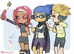 1girl 2boys :d ^_^ bike_shorts black_cape black_skirt blonde_hair cape cellphone closed_eyes closed_eyes closed_mouth dark_skin domino_mask frown headgear holding holding_phone inkling kirikuchi_riku long_hair long_sleeves mars_symbol mask miniskirt multiple_boys navel octarian octoling open_mouth phone pink_eyes pink_hair self_shot short_hair single_sleeve single_vertical_stripe skirt smartphone smartphone_case smile splatoon splatoon_(series) splatoon_2 splatoon_2:_octo_expansion squidbeak_splatoon star tentacle_hair thigh_strap torn_cape torn_clothes twitter_username v venus_symbol vest zipper zipper_pull_tab