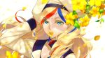 1girl anchor_hair_ornament bangs beret blonde_hair blue_eyes blue_hair closed_mouth collarbone commandant_teste_(kantai_collection) commentary_request eyebrows_visible_through_hair flower french_flag hair_between_eyes hair_ornament hat highres hisame_(gocbu) kantai_collection leaf long_hair long_sleeves looking_at_viewer multicolored multicolored_clothes multicolored_hair multicolored_scarf outdoors petals plaid plaid_scarf redhead scarf simple_background solo streaked_hair swept_bangs wavy_hair white_hair