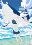 1girl animal backpack bag black_hair blue_sailor_collar blue_skirt blue_sky clouds cloudy_sky commentary_request facing_away flying_whale from_behind highres horizon medium_hair ocean original outstretched_arm pleated_skirt road_sign sailor_collar scenery school_uniform serafuku seraphitalg shirt sign skirt sky soaking_feet solo standing translated water whale white_shirt
