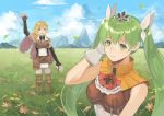 1boy 1girl arm_up black_gloves blonde_hair blue_sky cape closed_mouth clouds cravat day elbow_gloves fingerless_gloves flower frey_(rune_factory) gloves grass green_eyes green_hair hair_ornament kyufe leaf lest_(rune_factory) long_hair mountain open_mouth outdoors pouch rune_factory rune_factory_4 sky sleeveless smile standing twintails violet_eyes white_gloves