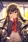 1girl ahoge artist_name bangs blazer blush brown-framed_eyewear brown_cardigan brown_eyes brown_hair cardigan commentary_request eyebrows_visible_through_hair fringe_trim glasses hair_between_eyes hand_up head_tilt indoors jacket long_hair long_sleeves looking_at_viewer moe2019 mole open_blazer open_clothes open_jacket original parted_lips plaid plaid_scarf red_scarf rosuuri round_eyewear scarf school_uniform sleeves_past_wrists solo sunlight upper_body very_long_hair watermark web_address