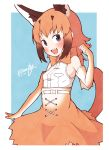 1girl absurdres bare_shoulders belt blue_eyes bow bowtie brown_hair caracal_(kemono_friends) caracal_ears caracal_tail clenched_hand commentary_request cowboy_shot dated elbow_gloves enk_0822 eyebrows_visible_through_hair fang gloves hand_up high-waist_skirt highres kemono_friends light_brown_hair long_hair multicolored_hair open_mouth signature skirt sleeveless solo white_hair