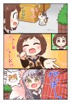2girls :d ^_^ absurdres around_corner bang_dream! bangs black_flower black_jacket black_rose blush bow box brown_eyes brown_hair bubble_background calico cardboard_box clenched_hands closed_eyes closed_eyes collared_jacket comic commentary_request emphasis_lines flower grey_hair hair_bow hair_flower hair_ornament hands_up hazawa_tsugumi highres jacket kyou_(user_gpks5753) long_sleeves minato_yukina multiple_girls nyan open_mouth outstretched_hand paw_pose peeking_out rose short_hair smile sweatdrop sweater v-shaped_eyebrows wavy_mouth