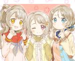 3girls blue_eyes color_connection hacosumi hair_color_connection highres light_brown_hair love_live! love_live!_school_idol_festival love_live!_school_idol_festival_all_stars love_live!_school_idol_project love_live!_sunshine!! minami_kotori multiple_girls nakasu_kasumi one_eye_closed perfect_dream_project pose school_uniform violet_eyes watanabe_you yellow_eyes