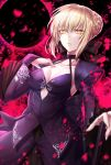 1girl artoria_pendragon_(all) black_bow blonde_hair bow braided_bun breasts bridal_gauntlets choker cleavage collarbone eclipse eyebrows_visible_through_hair fate/stay_night fate_(series) hair_bow hand_on_hilt kamuinii long_sleeves looking_at_viewer medium_breasts parted_lips purple_shirt purple_sleeves saber_alter shiny shiny_hair shirt short_hair shrug_(clothing) sidelocks skirt sleeveless sleeveless_shirt solo standing yellow_eyes