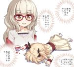2girls athrun1120 bangs bow brown_eyes chibi commentary_request cup eyebrows_visible_through_hair full_body glasses grey_hair hair_ornament hair_ribbon hazuki_shizuku iijima_yun long_hair lying multiple_girls new_game! on_stomach open_mouth red-framed_eyewear ribbon saucer short_hair spill tea teacup twintails white_legwear