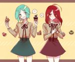 !! ahoge alternate_costume androgynous cake colored_eyelashes contemporary crepe cupcake doughnut eyebrows_visible_through_hair food green_eyes green_hair hair_over_one_eye houseki_no_kuni humanization long_bangs long_hair macaron neck_ribbon phosphophyllite pin_(velika) red_eyes redhead ribbon shinsha_(houseki_no_kuni) short_hair skirt smile