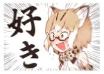 1girl absurdres animal_ears bare_shoulders blonde_hair blood blush bow bowtie brown_hair cat_ears commentary_request elbow_gloves emphasis_lines enk_0822 extra_ears eyebrows_visible_through_hair fang flying_sweatdrops glasses gloves green_eyes headshot heart heart_eyes highres kemono_friends margay_(kemono_friends) margay_print multicolored_hair nosebleed open_mouth short_hair sleeveless solo sweatdrop translation_request white_hair