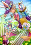 animal_ears aqua_eyes arm_belt breasts brown_hair bunny_tail chains cleavage collared_shirt commentary_request ear_piercing easter_egg echo_(mff) egg fairy fairy_wings final_fantasy flower flying gloves green_wings grey_hair hand_puppet hat hat_tip head_wreath lapel_flower meadow mobius_final_fantasy multicolored multicolored_clothes multicolored_hair open_mouth payu_(pyms11) piercing pixie puppet purple_footwear purple_gloves purple_hair purple_hat rabbit_ears shirt short_hair small_breasts smile sparkle striped striped_legwear tail thigh-highs top_hat two-tone_hair vest wand wings wol yellow_eyes