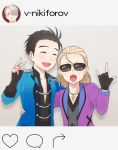 2boys \m/ ^_^ black_hair blonde_hair closed_eyes collared_shirt cross cross_necklace epaulettes fake_screenshot fingerless_gloves gloves hair_slicked_back instagram jewelry katsuki_yuuri male_focus multiple_boys necklace open_mouth ring ruei_(chicking) shirt smile sunglasses tongue tongue_out v viktor_nikiforov yuri!!!_on_ice yuri_plisetsky