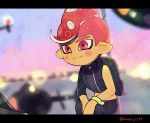 1boy aircraft blurry blurry_background blush closed_mouth helicopter kirikuchi_riku long_sleeves male_focus mohawk octarian octoling red_eyes redhead short_hair single_sleeve smile solo splatoon splatoon_(series) splatoon_2 splatoon_2:_octo_expansion squatting suction_cups tentacle_hair wristband zipper zipper_pull_tab