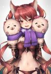 1girl animal_ears blush breasts cerberus_(shingeki_no_bahamut) dog_ears granblue_fantasy hair_between_eyes hand_puppet inaba_sunimi long_hair looking_at_viewer medium_breasts midriff navel open_mouth puppet red_eyes redhead revealing_clothes scarf shingeki_no_bahamut simple_background solo twintails very_long_hair white_background