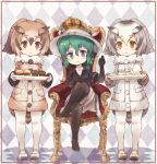3girls bird_tail bird_wings black_hair blonde_hair blue_eyes blush brown_hair coat commentary_request crown elbow_gloves eurasian_eagle_owl_(kemono_friends) eyebrows_visible_through_hair food full_body fur_collar gloves green_hair grey_hair hand_on_own_knee hand_up hat_feather head_wings helmet highres jacket kaban_(kemono_friends) kemono_friends kolshica legs_crossed legwear_under_shorts long_sleeves multicolored_hair multiple_girls no_shoes northern_white-faced_owl_(kemono_friends) owl_ears pantyhose pith_helmet short_hair short_sleeves shorts sitting spoilers standing throne tray wings yellow_eyes