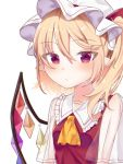 1girl ascot bangs blonde_hair blush closed_mouth collared_shirt commentary_request crystal eringi_(rmrafrn) eyebrows_visible_through_hair flandre_scarlet frilled_shirt_collar frills hair_between_eyes hat long_hair mob_cap one_side_up pointy_ears red_eyes red_skirt see-through see-through_sleeves shirt short_sleeves simple_background skirt solo touhou tsurime upper_body white_background white_hat wings yellow_neckwear