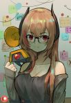 1girl bare_shoulders black-framed_eyewear black_shirt breasts brown_hair cleavage closed_mouth collarbone dinergate_(girls_frontline) girls_frontline glasses hand_up headgear hentaki jacket large_breasts long_hair long_sleeves looking_at_viewer m4_sopmod_ii_(girls_frontline) multicolored_hair off_shoulder open_clothes open_jacket patreon_username red_eyes redhead shirt sleeveless sleeveless_shirt sleeves_past_wrists smile solo sparkle sticky_note streaked_hair upper_body