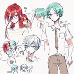 1boy alternate_costume alternate_hairstyle androgynous antarcticite blue_eyes blush contemporary finger_to_mouth glasses green_eyes green_hair hair_between_eyes houseki_no_kuni humanization long_bangs long_hair necktie phosphophyllite pin_(velika) ponytail red_eyes redhead shinsha_(houseki_no_kuni) short_hair sleeping sleeping_on_person smile white_hair