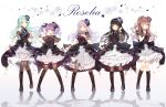 5girls :d ;) ;d aqua_hair aqua_rose ascot bang_dream! bangs black_choker black_flower black_footwear black_hair black_legwear black_neckwear black_ribbon black_rose blue_flower blue_rose blunt_bangs blush boots bow bowtie brown_hair choker clenched_hand collared_dress corsage corset cross-laced_footwear detached_sleeves dress finger_to_mouth flower frilled_dress frills full_body green_eyes group_name hair_flower hair_ornament hair_ribbon half_updo hand_in_hair hand_on_own_chest hand_up highres hikawa_sayo imai_lisa knee_boots long_hair looking_at_viewer minato_yukina multiple_girls one_eye_closed open_mouth overskirt pantyhose purple_flower purple_hair purple_rose red_eyes red_flower red_rose reflection ribbon rose roselia_(bang_dream!) see-through_sleeves shirokane_rinko short_sleeves silver_hair skirt_hold smile standing striped taya_5323203 thigh-highs twintails udagawa_ako vertical_stripes violet_eyes wrist_cuffs yellow_eyes