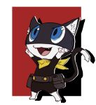 1boy animal animal_ears atlus bag belt black-framed_eyewear blue_eyes cat cat_ears cat_tail full_body furry highres male mask megami_tensei morgana_(persona_5) nin_nakajima no_humans open_mouth paws persona persona_5 scarf smile tail