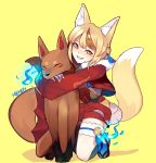 1girl absurdres animal_ears blonde_hair brown_hair fingerless_gloves fire_emblem fire_emblem_if fox_ears fox_tail full_body fur_trim gloves grin highres hug hug_from_behind japanese_clothes kinu_(fire_emblem_if) kitsune lazymimium long_sleeves multicolored_hair nintendo short_hair simple_background smile streaked_hair tail twitter_username yellow_background yellow_eyes