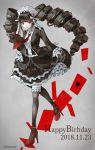 1girl @ black_dress black_hair black_legwear bonnet card celestia_ludenberck commentary_request danganronpa danganronpa_1 dated dress drill_hair eyebrows_visible_through_hair frills gothic_lolita hair_ornament happy_birthday headdress heart highres holding holding_dress lolita_fashion long_hair necktie pumps red_eyes red_footwear red_neckwear sakuyu smile solo thigh-highs twin_drills twintails twitter_username
