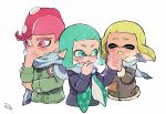 1boy 2girls adjusting_clothes adjusting_scarf aqua_eyes aqua_hair blonde_hair blue_scarf blush breath brown_jacket closed_eyes domino_mask fang furrowed_eyebrows hand_holding inkling jacket kirikuchi_riku long_hair long_sleeves mask mohawk multiple_girls octarian octoling pink_eyes pink_hair plaid plaid_scarf pointy_ears scarf shared_scarf short_hair simple_background splatoon_(series) suction_cups tentacle_hair upper_body white_background