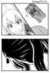2koma 3girls anzio_military_uniform carro_veloce_cv-33 comic girls_und_panzer greyscale ground_vehicle itsumi_erika long_hair military military_vehicle monochrome motor_vehicle multiple_girls ooarai_military_uniform pepperoni_(girls_und_panzer) shaded_face shimada_arisu side_ponytail sutahiro_(donta) sweatdrop tank