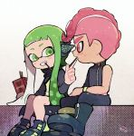 1boy 1girl agent_3 agent_8 black_cape black_footwear black_pants boots cape domino_mask food green_eyes green_hair grin headgear holding inkling kirikuchi_riku long_hair long_sleeves looking_at_another mask mohawk nintendo octarian octoling open_mouth pants pink_eyes pink_hair pocky shoes short_hair single_bare_shoulder single_sleeve sitting smile splatoon splatoon_(series) splatoon_2 splatoon_2:_octo_expansion squidbeak_splatoon suction_cups teeth tentacle_hair torn_cape torn_clothes vest wristband zipper zipper_pull_tab