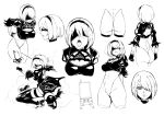 ass back_cutout blindfold breasts cleavage cleavage_cutout dress erect_nipples hair_over_one_eye hairband highres juliet_sleeves large_breasts leotard long_sleeves medium_breasts mole mole_under_mouth monochrome nier_(series) nier_automata open_mouth pod_(nier_automata) puffy_sleeves sketch sword thigh-highs tongue tongue_out weapon xiaobang yorha_no._2_type_b