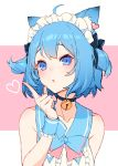 1girl absurdres animal_ears animare bare_shoulders blue_eyes blue_hair cat_ears cat_girl commentary_request eyebrows_visible_through_hair hand_up highres index_finger_raised izumi_sai looking_at_viewer raised_eyebrows solo souya_ichika upper_body virtual_youtuber