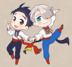 2boys :d black_hair blue_eyes brown_eyes hair_over_one_eye hair_slicked_back hand_holding jewelry katsuki_yuuri male_focus multiple_boys open_mouth pants ring ruei_(chicking) russian_clothes sash silver_hair smile sparkle standing standing_on_one_leg viktor_nikiforov yuri!!!_on_ice