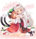 2girls :3 :d animal animal_ear_fluff animal_ears animalization bridal_gauntlets brown_hair cat cat_ears cat_tail chen chen_(cat) commentary_request detached_sleeves fang frilled_skirt frills full_body hand_holding hat highres ibaraki_natou inubashiri_momiji jewelry kneeling mary_janes mob_cap multiple_girls multiple_tails open_mouth orange_eyes red_footwear sandals shirt shoes short_hair single_earring skirt smile socks tabi tail tokin_hat touhou two_tails vest white_hair white_legwear wide_sleeves wolf_ears wolf_tail