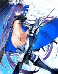 1girl blue_eyes blue_ribbon coat crotch_plate fate/extra fate/extra_ccc fate/grand_order fate_(series) flat_chest hair_ribbon highres long_hair meltlilith metal_boots midriff navel nishiide_kengorou no_pants official_art prosthesis prosthetic_leg purple_hair ribbon solo spikes very_long_hair