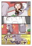 2girls :d :t absurdres bang_dream! bangs black_jacket black_legwear blue_skirt box brown_eyes brown_hair cardboard_box color_drain comic embarrassed grey_hair grey_jacket hazawa_tsugumi highres jacket kyou_(user_gpks5753) logo long_sleeves minato_yukina miniskirt multiple_girls o_o open_mouth outstretched_hand pantyhose paw_pose pleated_skirt running short_hair skirt smile speed_lines squatting sweatdrop sweater turn_pale u_u