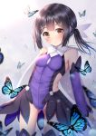 1girl ass_visible_through_thighs bangs bare_shoulders black_hair blurry blurry_background blush breasts brown_eyes bug butterfly closed_eyes depth_of_field detached_sleeves eyebrows_visible_through_hair fate/kaleid_liner_prisma_illya fate_(series) groin hair_ornament head_tilt highres insect leotard long_hair long_sleeves miyu_edelfelt puririn purple_leotard purple_sleeves sleeves_past_wrists small_breasts smile solo twintails x_hair_ornament