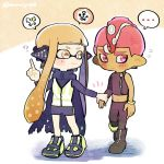 ... 1boy 1girl ? agent_3 agent_8 bangs bike_shorts black_cape black_footwear black_pants blunt_bangs boots cape closed_mouth dark_skin dark_skinned_male domino_mask flying_sweatdrops frown full_body hand_holding headgear index_finger_raised inkling kirikuchi_riku long_hair long_sleeves looking_at_another mask mohawk navel octarian octoling pants pink_eyes pink_hair pointy_ears shoes short_hair single_bare_shoulder single_sleeve single_vertical_stripe smile speech_bubble splatoon splatoon_(series) splatoon_2 splatoon_2:_octo_expansion spoken_ellipsis squidbeak_splatoon suction_cups tentacle_hair torn_cape torn_clothes twitter_username vest wristband zipper zipper_pull_tab