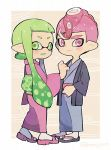 1boy 1girl :d closed_mouth domino_mask full_body geta green_eyes green_hair haori heart inkling japanese_clothes kimono kirikuchi_riku long_hair looking_at_viewer mask mohawk octarian octoling open_mouth pink_eyes pink_hair pointy_ears purple_kimono short_hair smile splatoon splatoon_(series) splatoon_2 standing suction_cups tabi tentacle_hair twitter_username white_legwear wide_sleeves