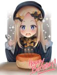 +_+ 1girl abigail_williams_(fate/grand_order) bangs black_bow black_dress black_hat blonde_hair blue_eyes blush bow burning candle dress drooling fate/grand_order fate_(series) fire forehead fork hair_bow happy_birthday hat holding holding_fork holding_spoon long_hair long_sleeves open_mouth orange_bow parted_bangs polka_dot polka_dot_bow puririn saliva sleeves_past_wrists solo sparkle spoon upper_body very_long_hair wavy_mouth