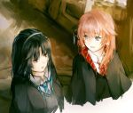 2girls alternate_costume artist_request bangs black_hair blue_eyes blunt_bangs brown_eyes bun_cover cropped_torso eyebrows_visible_through_hair gintama gryffindor hair_ornament harry_potter hogwarts_school_uniform kagura_(gintama) long_hair multiple_girls necktie open_mouth orange_hair ravenclaw robe school_uniform source_request striped striped_neckwear tokugawa_soyo