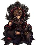 1boy armchair belt black_pants blue_eyes brown_hair chair cropped_legs crown gloves hand_on_own_face hood hoodie jewelry kingdom_hearts kingdom_hearts_iii legs_crossed looking_at_viewer mini_crown necklace nomura_tetsuya official_art open_clothes open_hoodie pants shoes smile sneakers solo sora_(kingdom_hearts) spiky_hair square_enix transparent_background v-neck zipper
