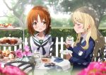 2girls alternate_hairstyle bangs black_neckwear blonde_hair blouse blue_sweater blurry blurry_background blurry_foreground blush brown_eyes brown_hair chair closed_eyes commentary_request cookie cup dappled_sunlight darjeeling day depth_of_field dress_shirt emblem eyebrows_visible_through_hair flower food fuku_kitsune_(fuku_fox) girls_und_panzer hair_down hedge_(plant) holding holding_cup holding_saucer long_hair long_sleeves looking_at_another macaron multiple_girls neckerchief necktie nishizumi_miho ooarai_school_uniform outdoors pink_flower pink_rose rose saucer school_uniform serafuku shadow shirt short_hair sitting st._gloriana's_(emblem) sunlight sweater tea_party tea_set teacup teapot tiered_tray tree v-neck white_blouse white_shirt wind