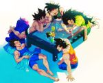 5boys bag_of_chips bardock can cellphone dark_skin dragon_ball dragonball_z facial_scar headband highres kakipiinu light long_hair male_focus multiple_boys muscle open_mouth phone raditz scar scar_on_cheek shorts sitting sleeping smartphone soda_can son_gokuu table tank_top tullece underwear vegeta very_long_hair