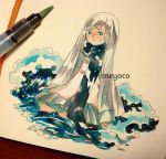 1girl artist_name blue_eyes grey_hair grey_skirt kneeling long_hair long_sleeves marker_(medium) meyoco original photo pleated_skirt scarf skirt solo traditional_media very_long_hair water waves white_background