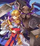 1girl armor blonde_hair blue_eyes dress earrings gloves helmet highres horned_helmet jewelry kamu_(kamuuei) long_hair looking_at_viewer nintendo phantom_(the_legend_of_zelda) pointy_ears princess_zelda solo super_smash_bros. super_smash_bros._ultimate the_legend_of_zelda the_legend_of_zelda:_a_link_between_worlds tiara triforce