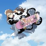 1girl apron blue_eyes brown_hair commentary glasses holding long_hair maid maid_apron maid_headdress original skateboard sky solo suzushiro_(suzushiro333)