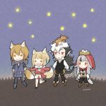 2boys 2girls animal_ears artist_name ayawo bird_nest black_hair black_pants blonde_hair brown_eyes brown_hair chibi closed_mouth egg father_and_daughter fire_emblem fire_emblem_heroes fire_emblem_if flannel_(fire_emblem_if) fox_ears fox_tail grey_hair hair_ornament hood hood_up japanese_clothes kinu_(fire_emblem_if) leg_up long_hair long_sleeves multicolored_hair multiple_boys multiple_girls nintendo nishiki_(fire_emblem_if) open_mouth outstretched_arms pants red_eyes scarf short_hair smile spread_arms streaked_hair stuffed_animal stuffed_toy tail teddy_bear velour_(fire_emblem_if) white_hair wolf_ears wolf_tail